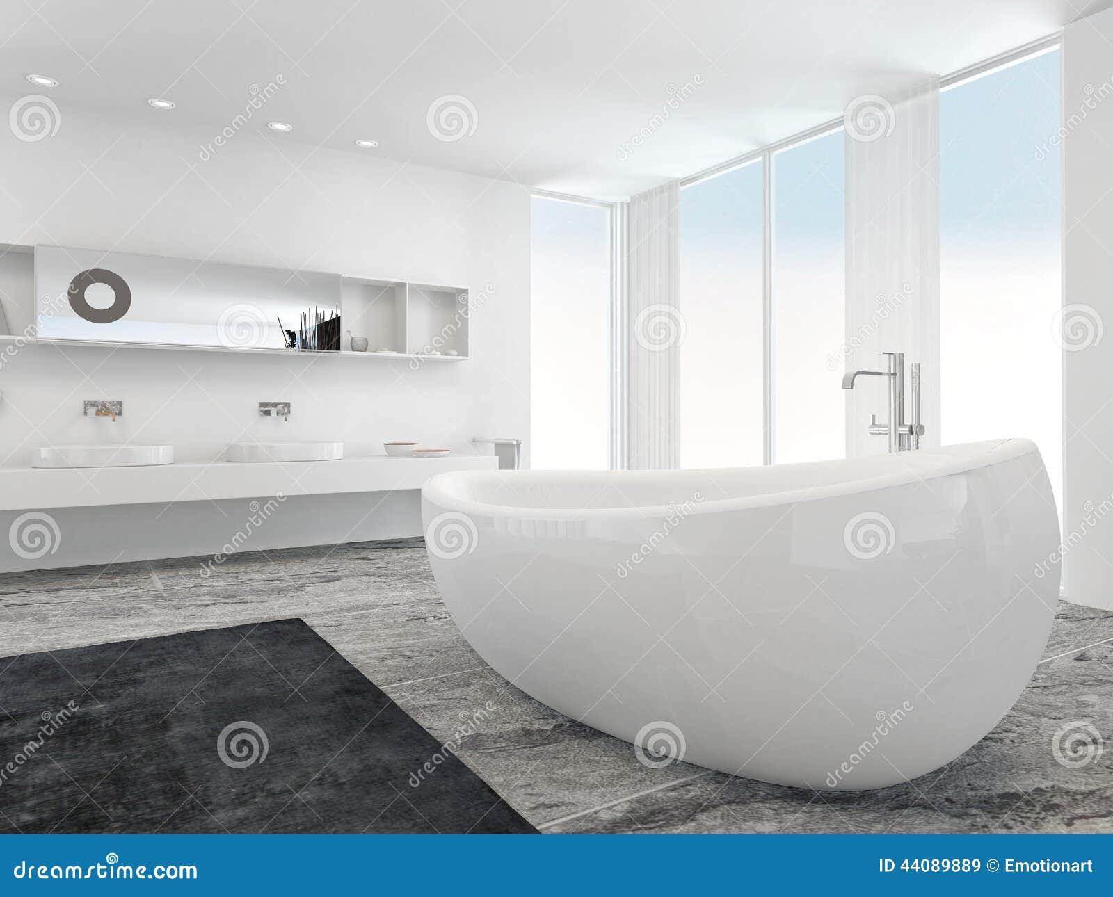 Mycket rymligt ljust modernt badrum med badkaret stock for Salle de bain avec baignoire a pied