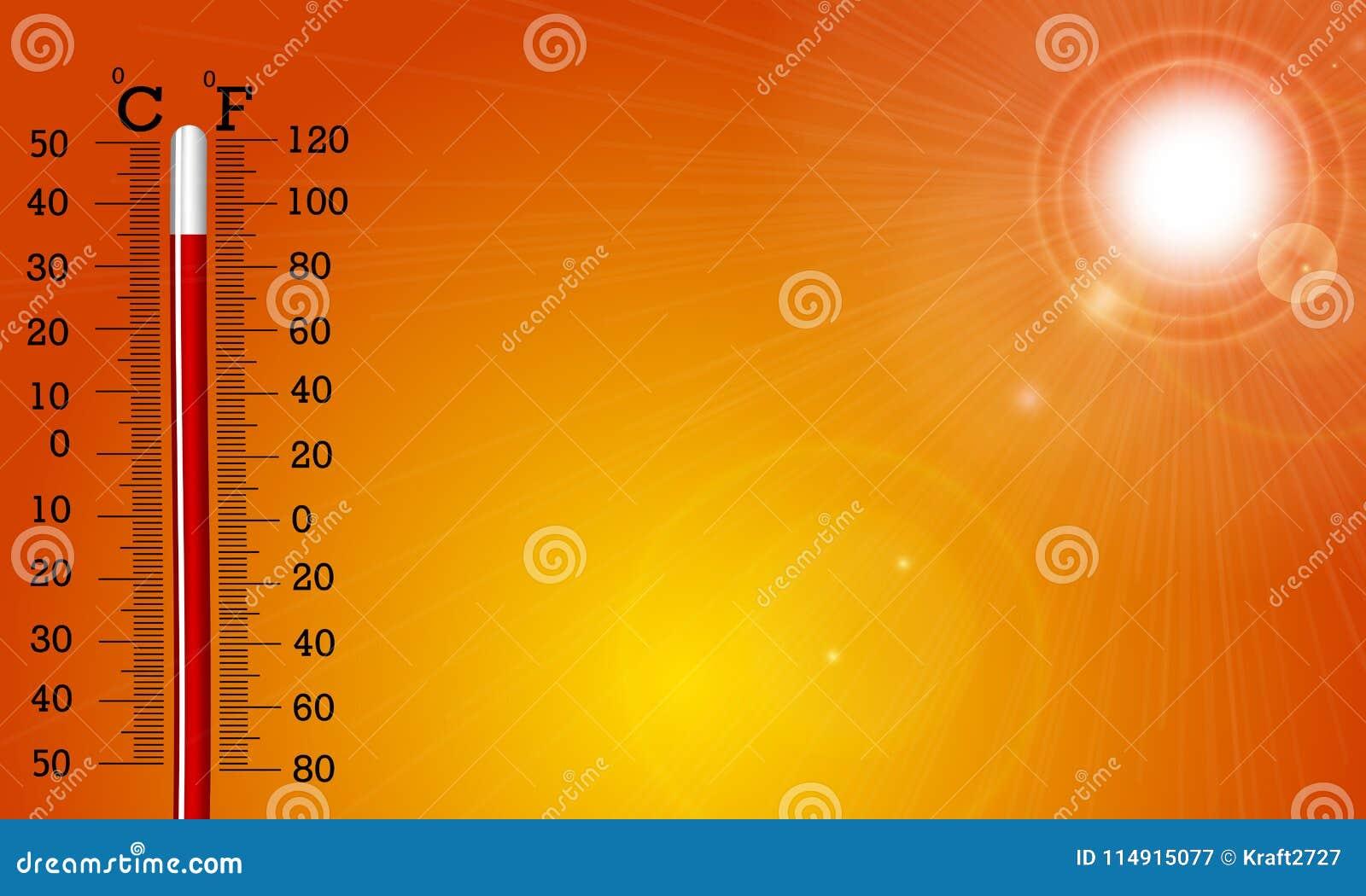 Mycket varm sol och termometer