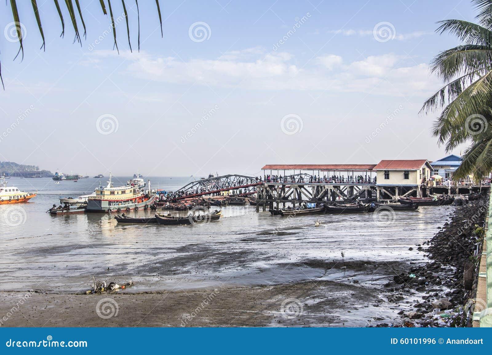 Myeik jetty editorial photo  Image of burma, dock, boat
