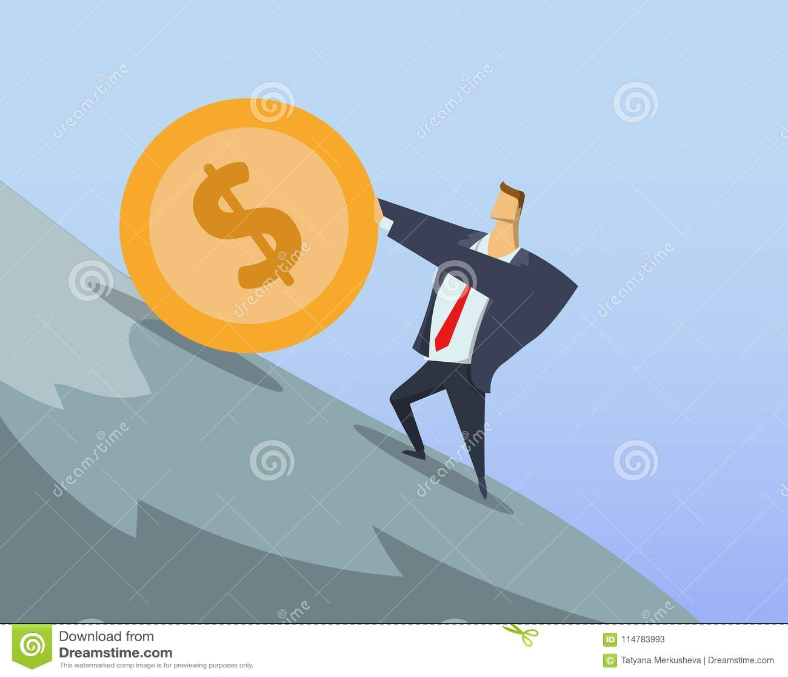 Mynt för dollar för dräkt för affärsman i regeringsställning driftigt stort upp den branta kullen Sisyphean arbete Sisyphean affä