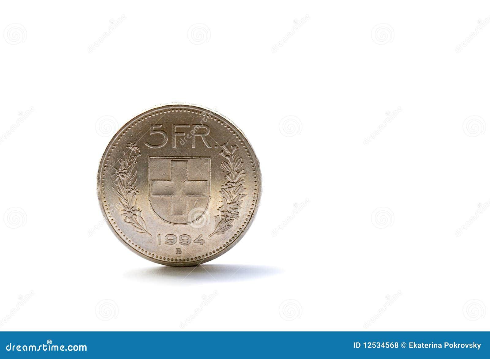Mynt fem enkla schweizare för franc
