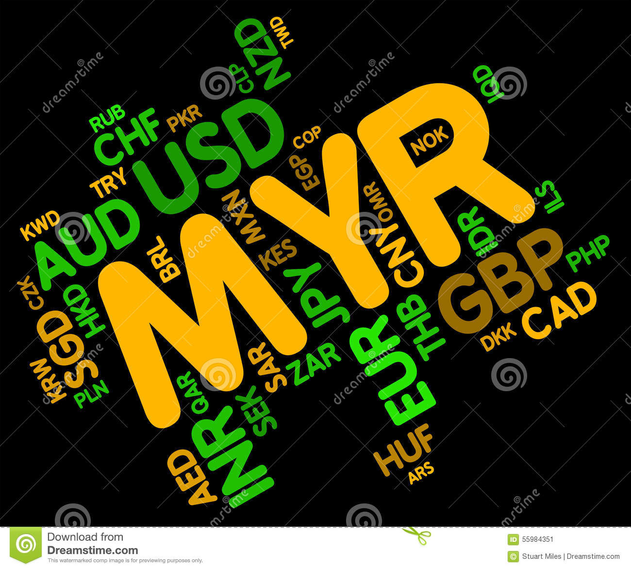 Myr Currency Shows Malaysia Ringgit And Fx Stock Illustration