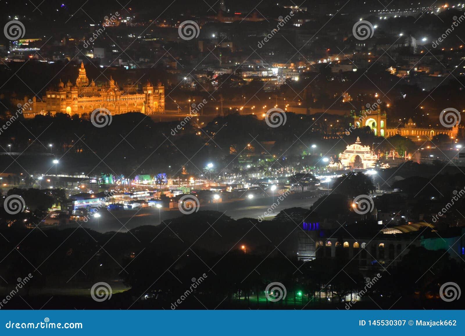 Mysore palace night view