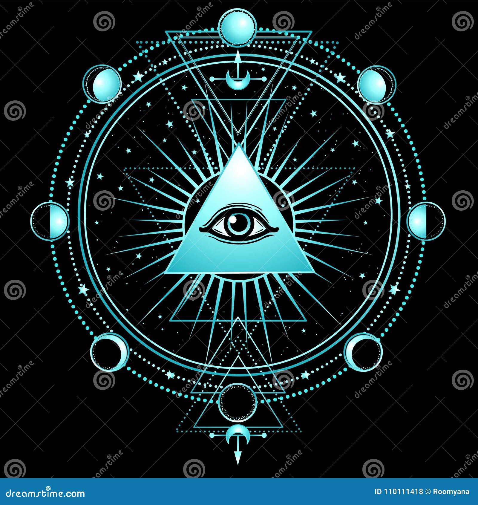 Mysteriöser Hintergrund: Pyramide, Auge gesamt-sehend, heilige Geometrie