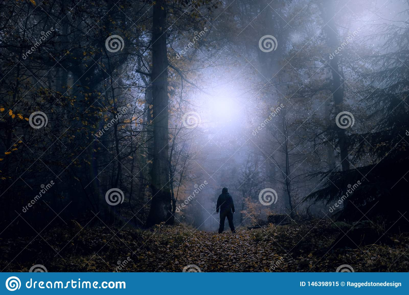 A mysterious concept edit. A lone figure standing on a forest path on a spooky misty night looking at lights in the sky. With a hi