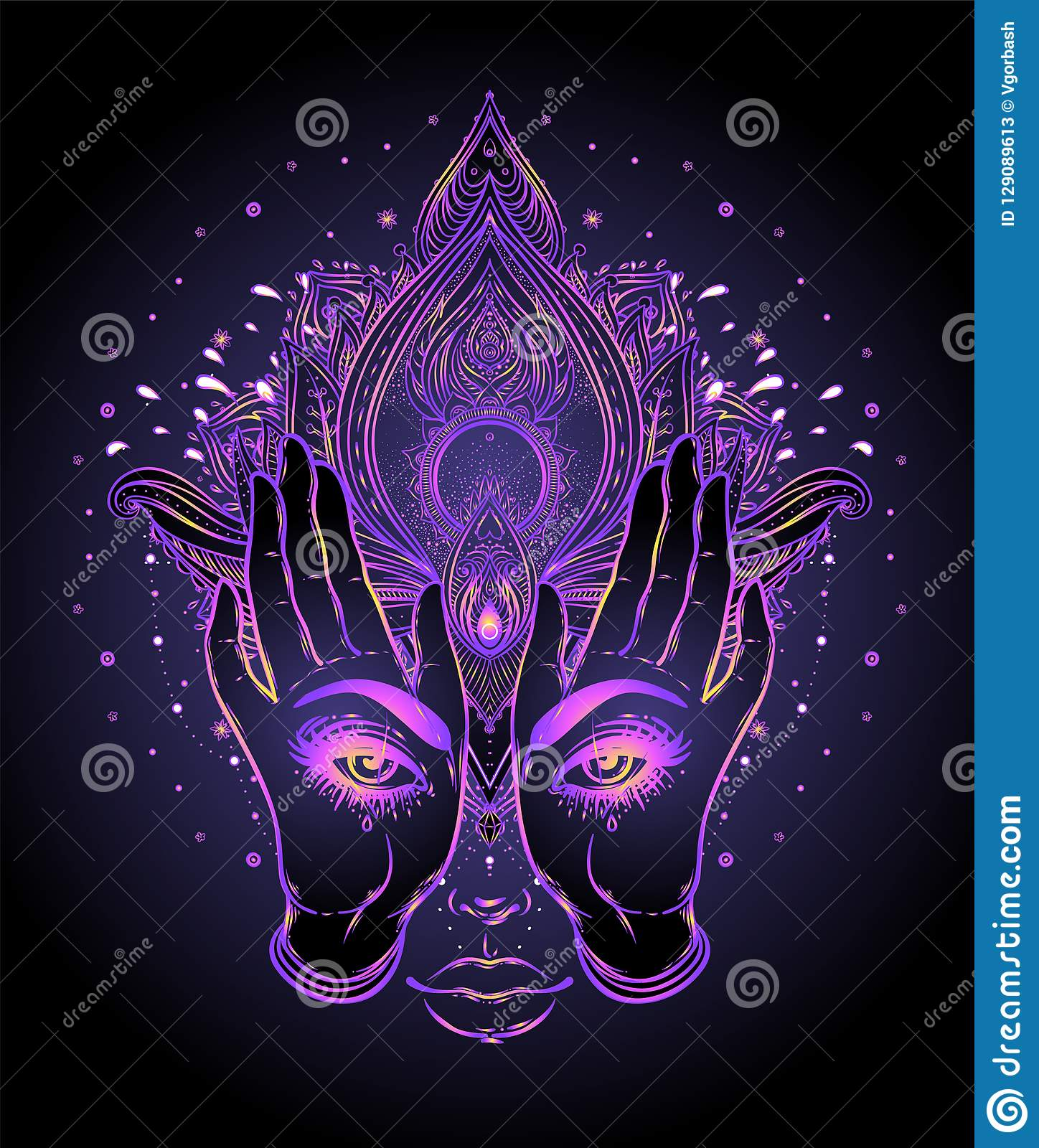 Mysterious Creature With Eyes On The Hands Over Vector Ornamental