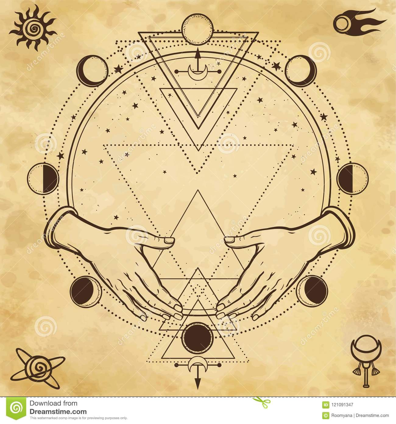 Mysterious drawing: human hands hold a magic circle, sacred geometry. Space symbols.