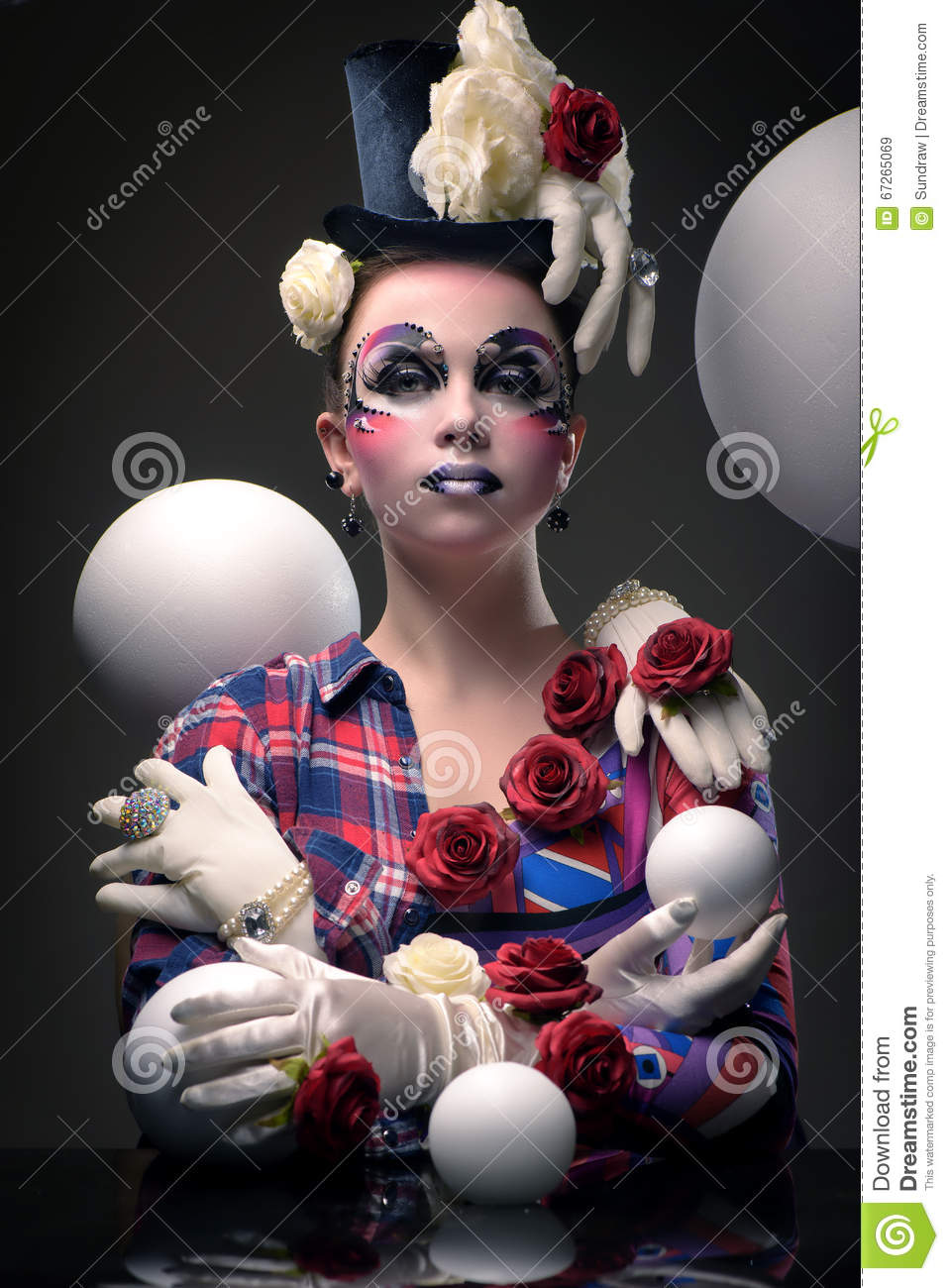 Mysterious Female Jester Masquerade Character Stock Photo Image 67265069