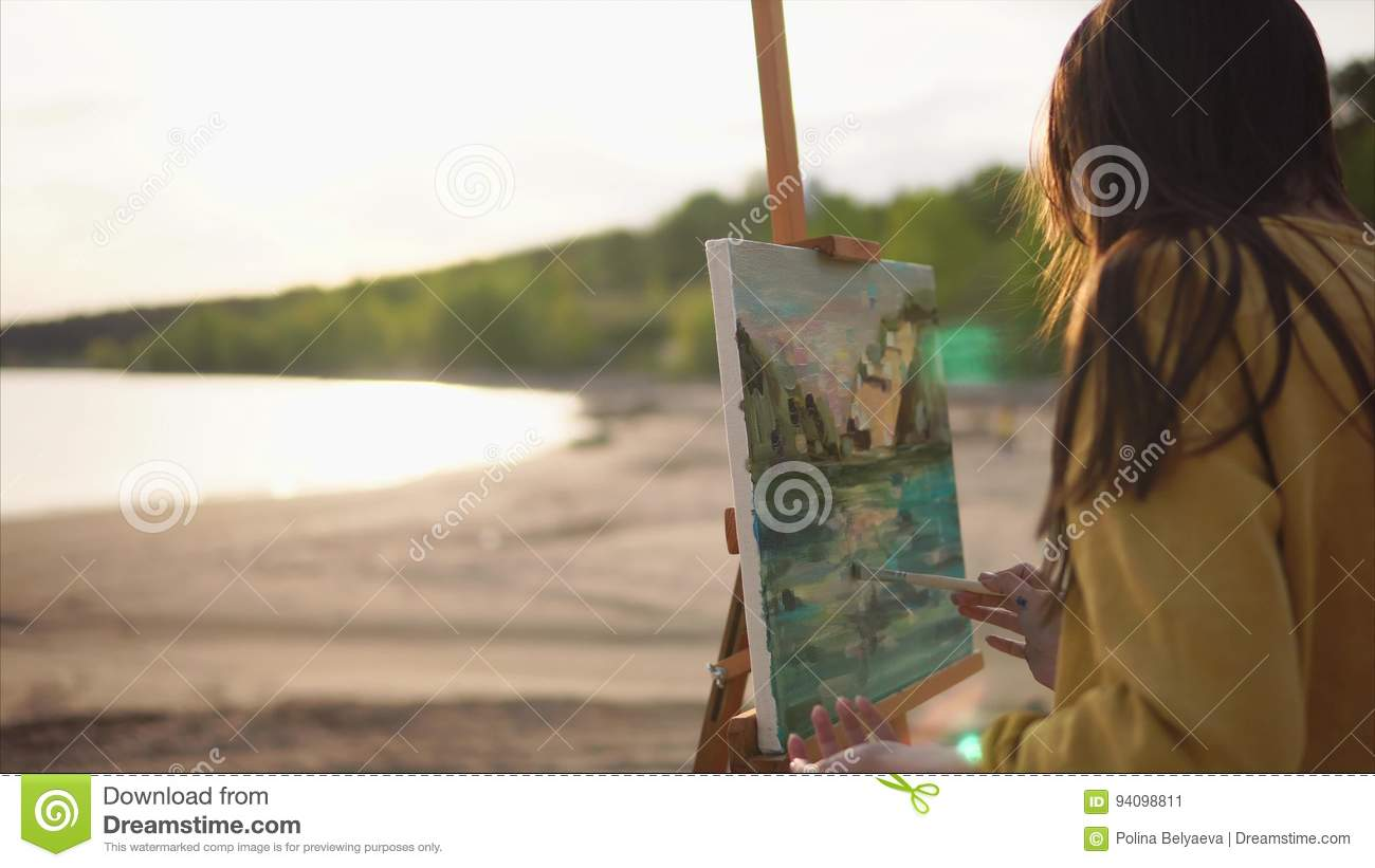 Mysterious Girl Finishes Painting Still Life With Paints