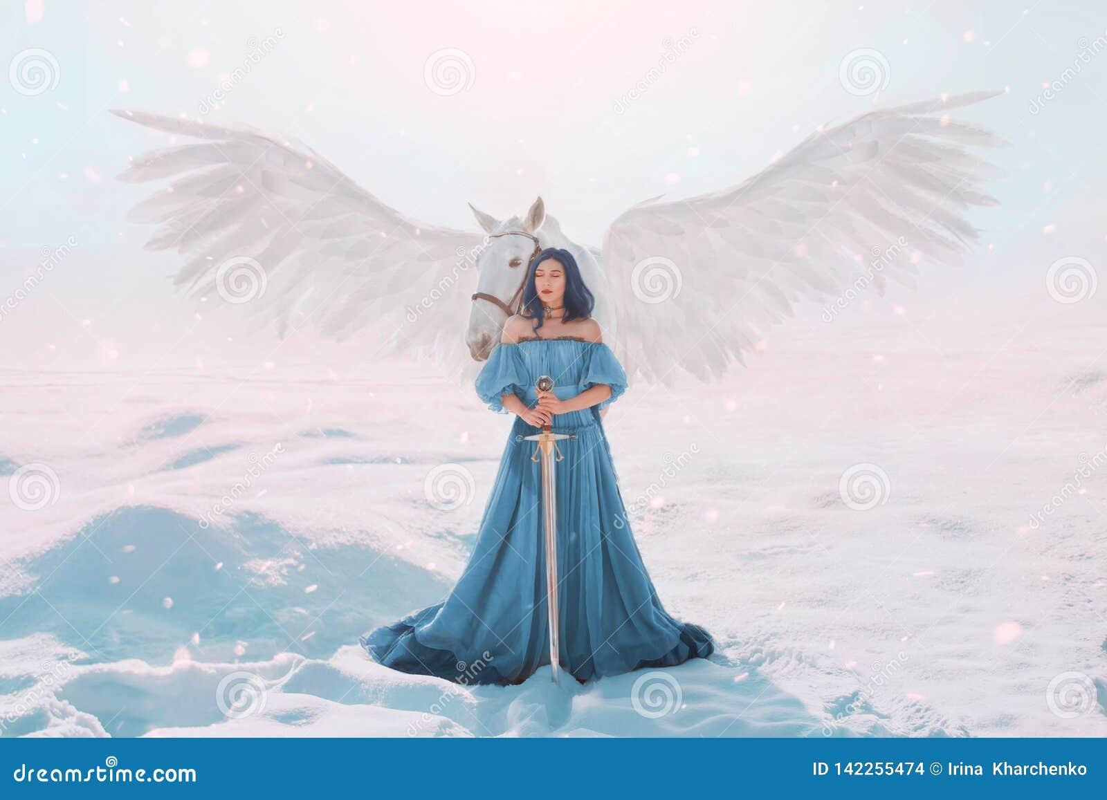 Dark Winter Fairy Standing with White Dragon Statue