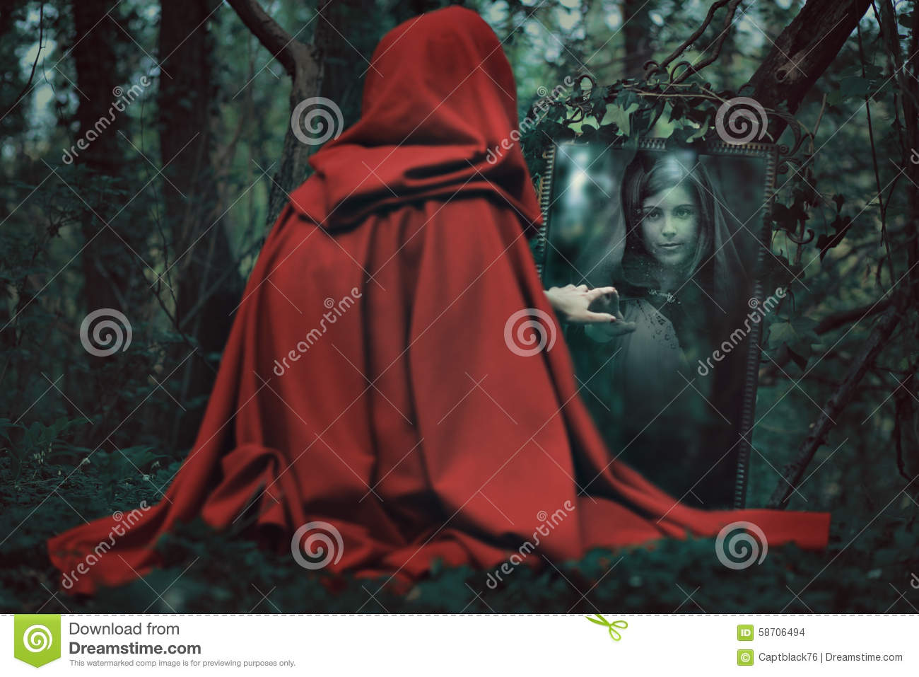 Mysterious hooded woman in front of a magical mirror