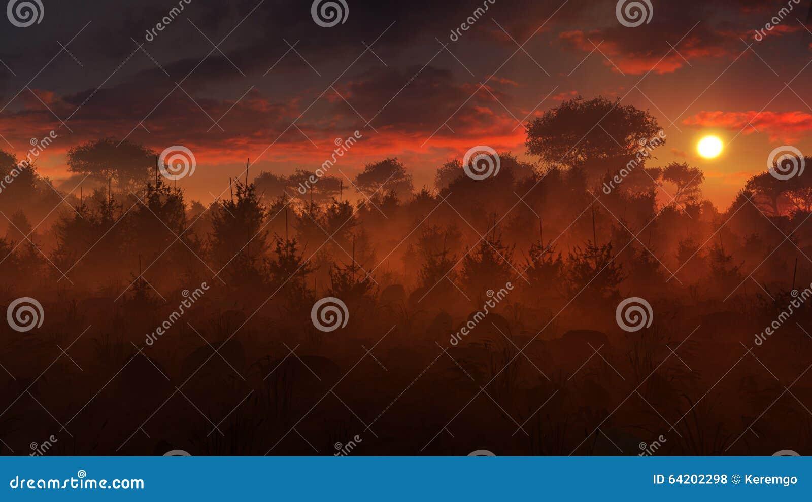 Mysterious Landscape Sunset