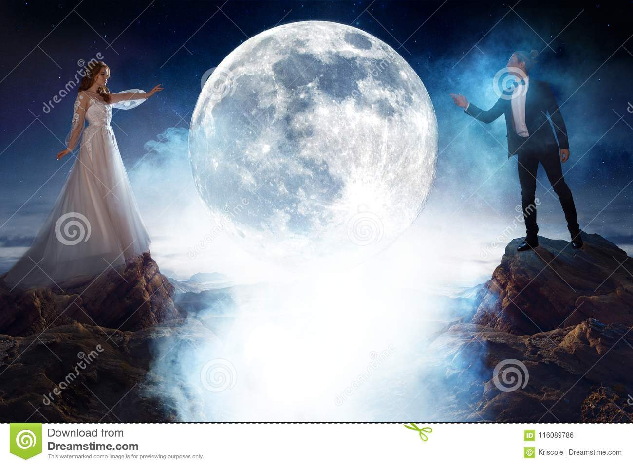 Mysterious and romantic meeting, bride and groom under the moon. Man and woman pulling each other`s hands. Mixed media