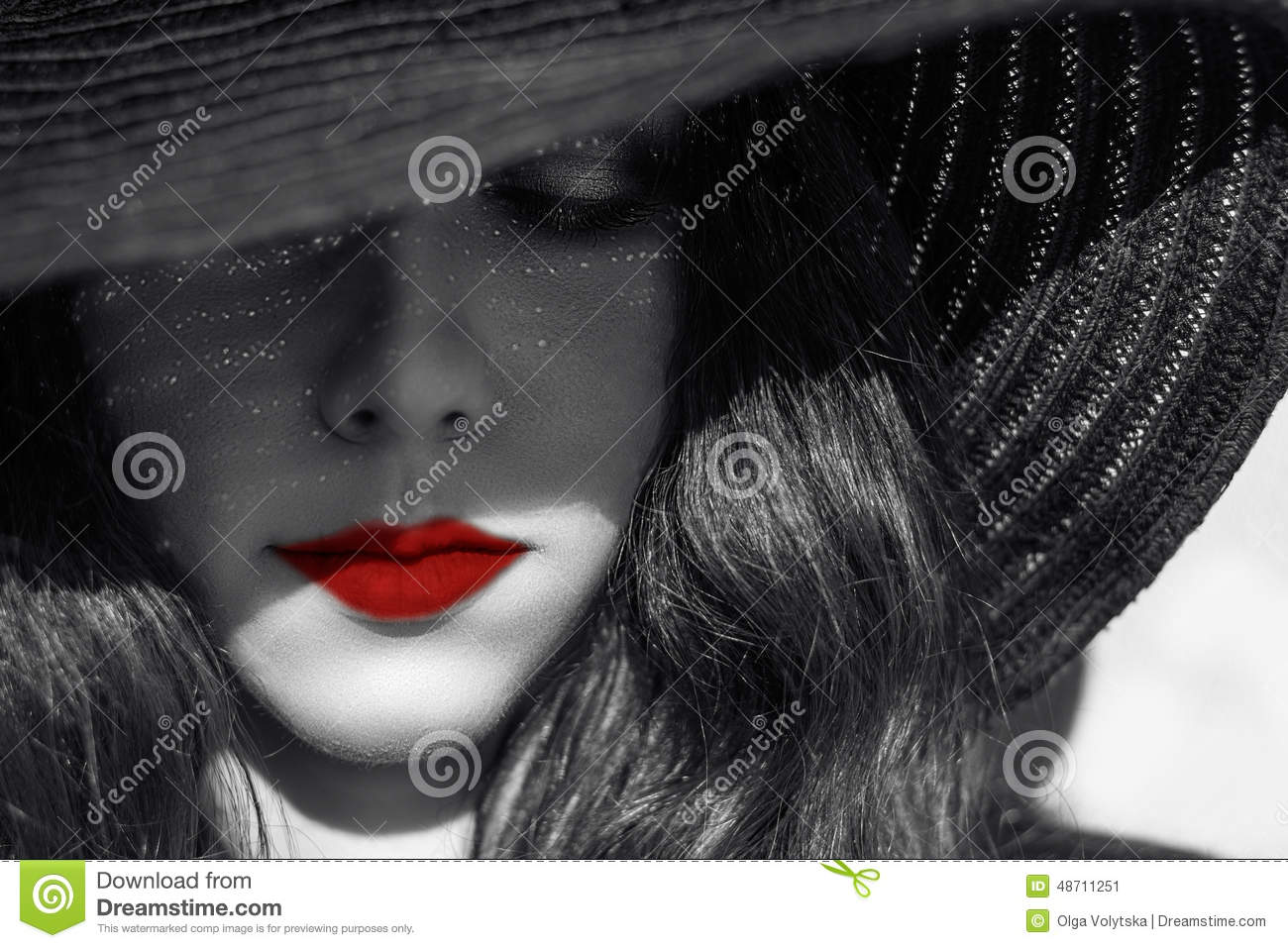 8ed826492e5 Mysterious woman in black hat. Red lips. Portrait of mysterious beautiful  young woman with
