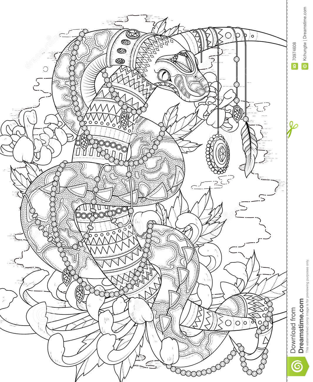 Mysterious Snake Adult Coloring Page Stock Illustration ...
