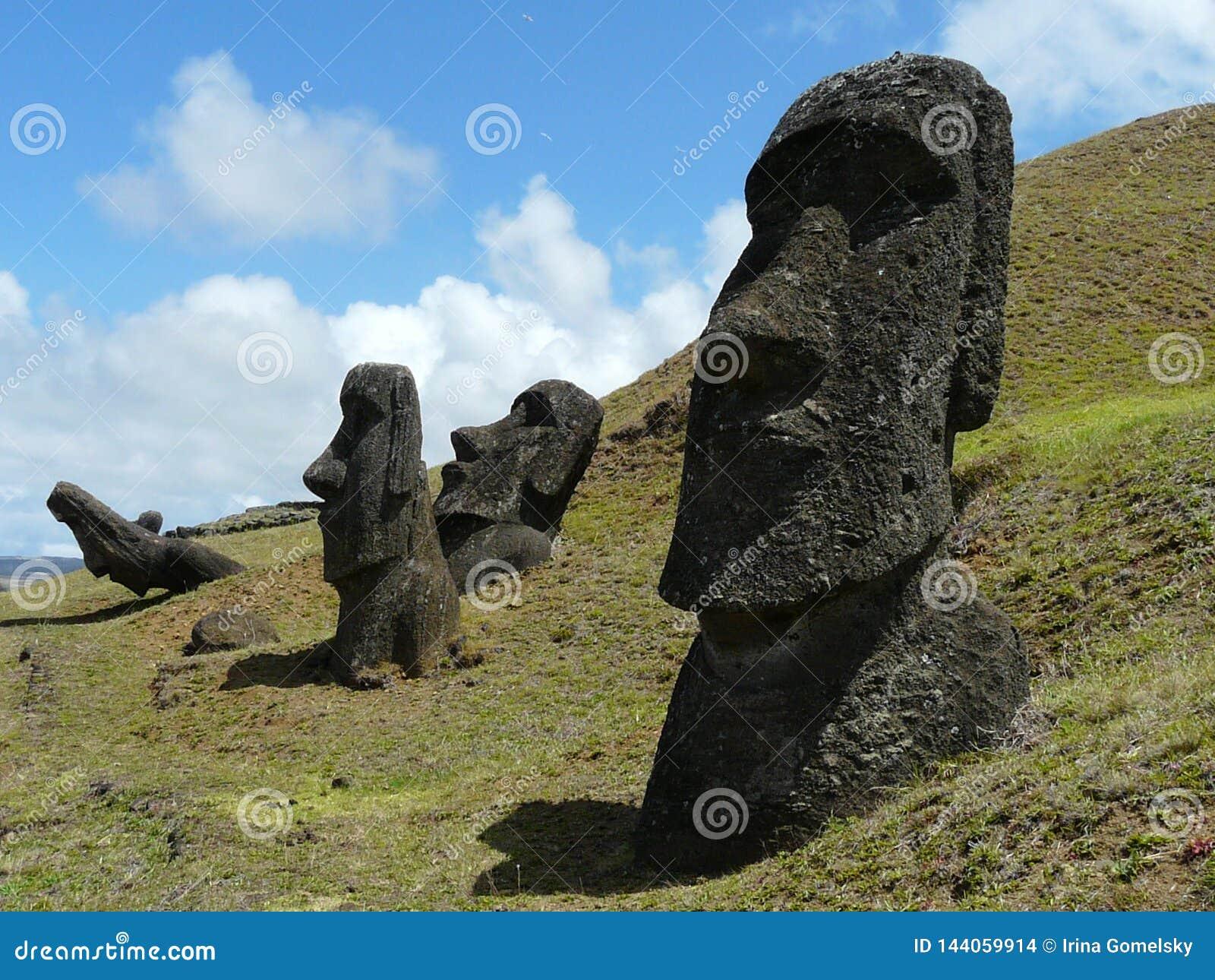 Mysterious statues of Moai, Rano-Raraku, Easter Island