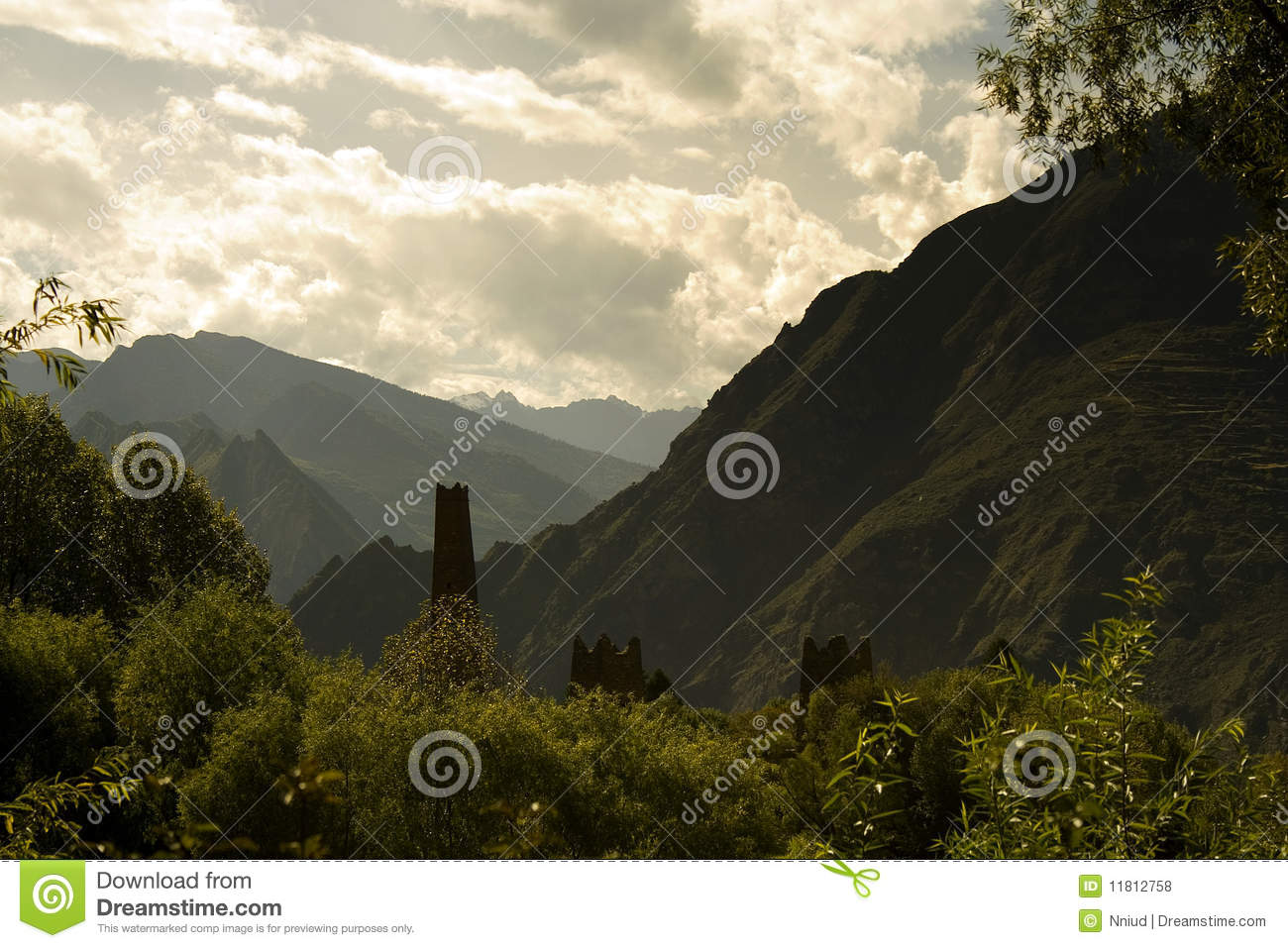 Mysterious towers in a valley, sichuan