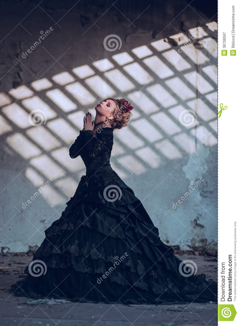 Mysterious woman in black dress