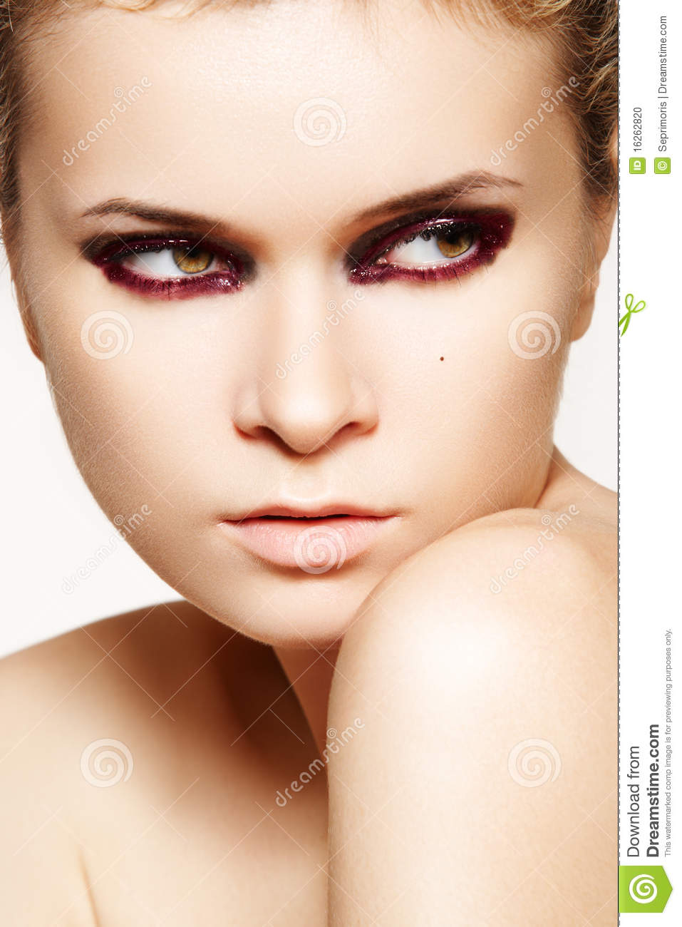 Mysterious Woman With Fashion Wet Bloody Make-up Stock ...