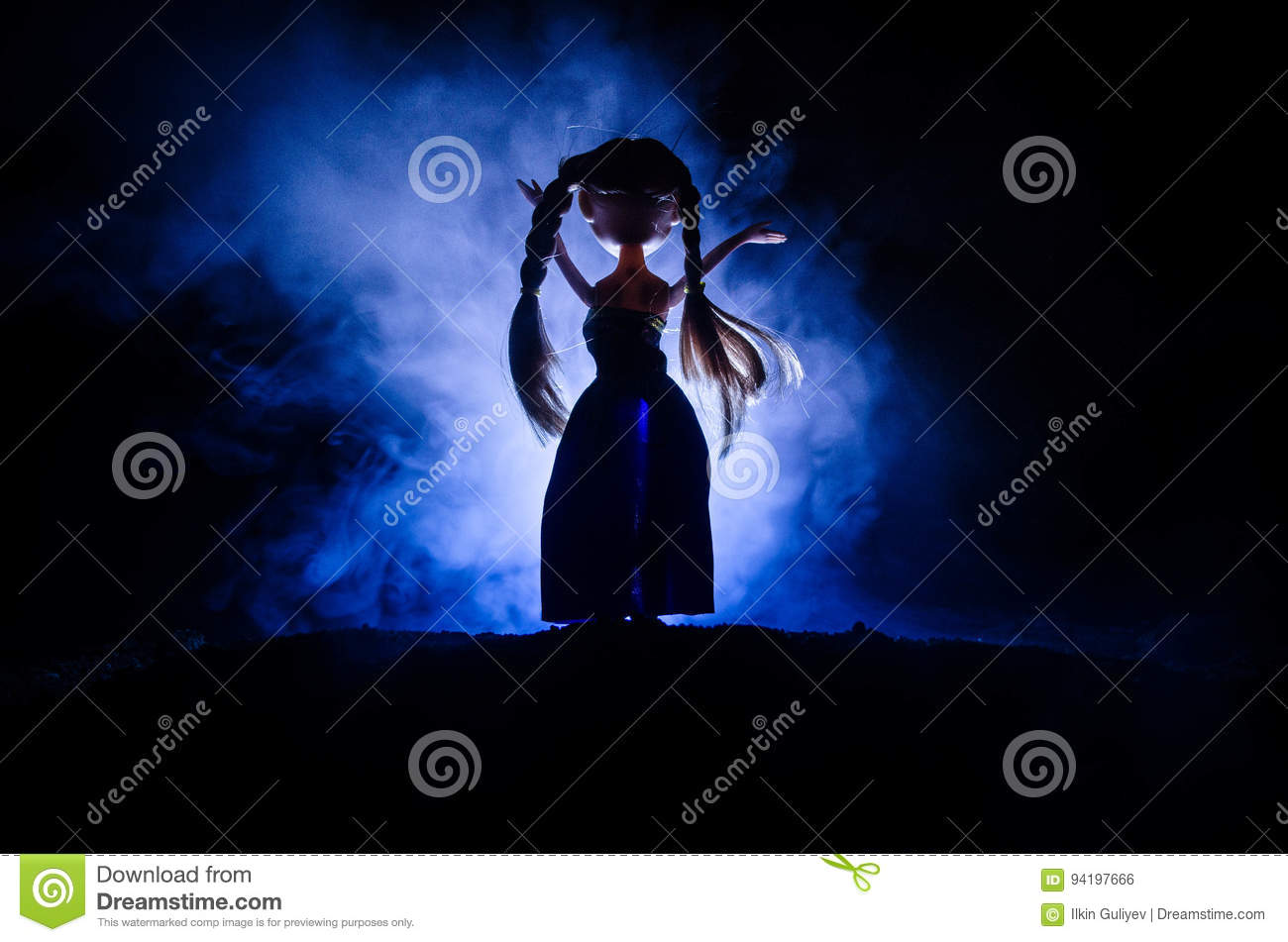 Mysterious Woman Horror Scene Of Scary Ghost Doll Woman On