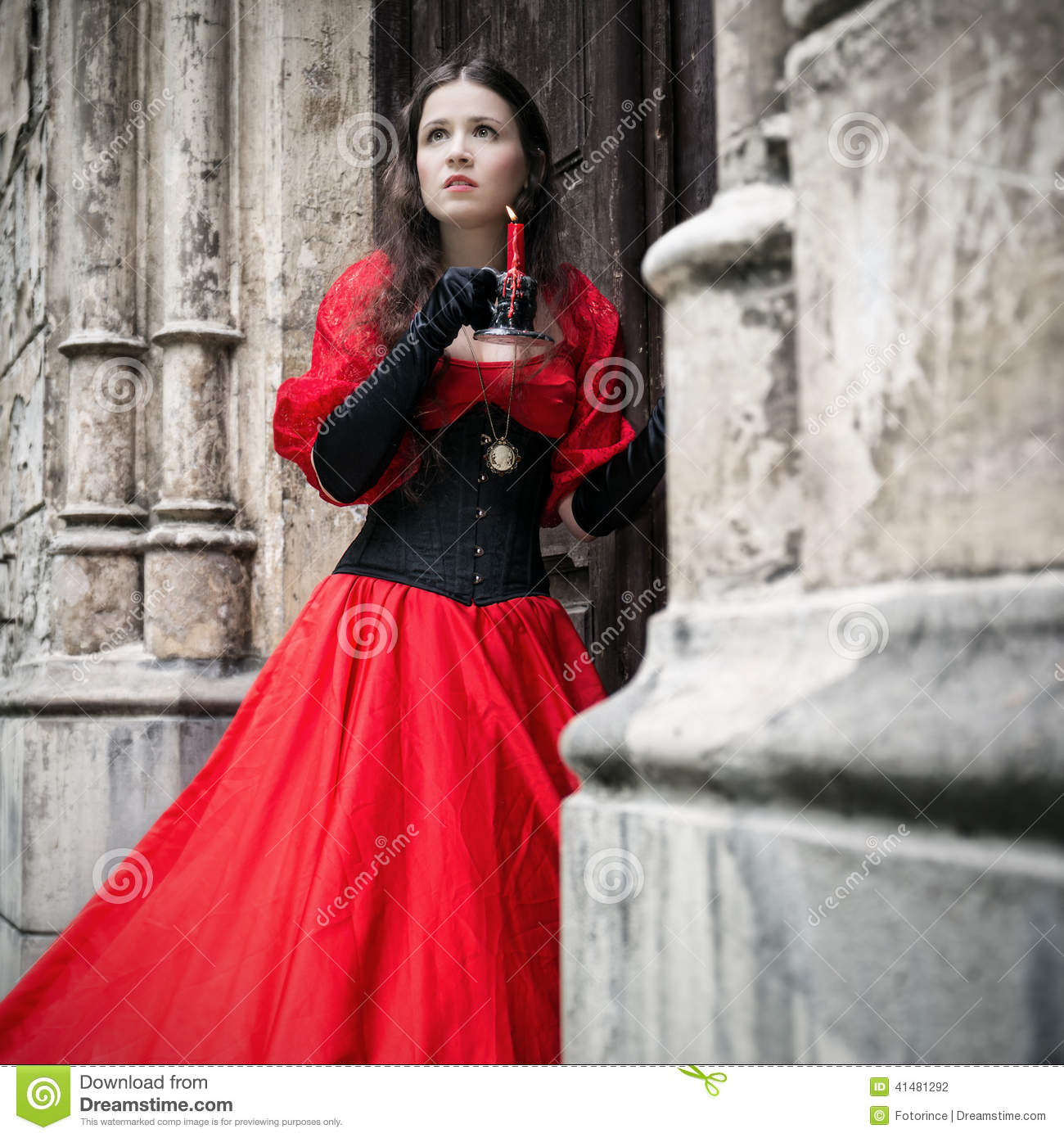 b4b8a107045 Mysterious Woman In Red Victorian Dress Stock Photo - Image of ...