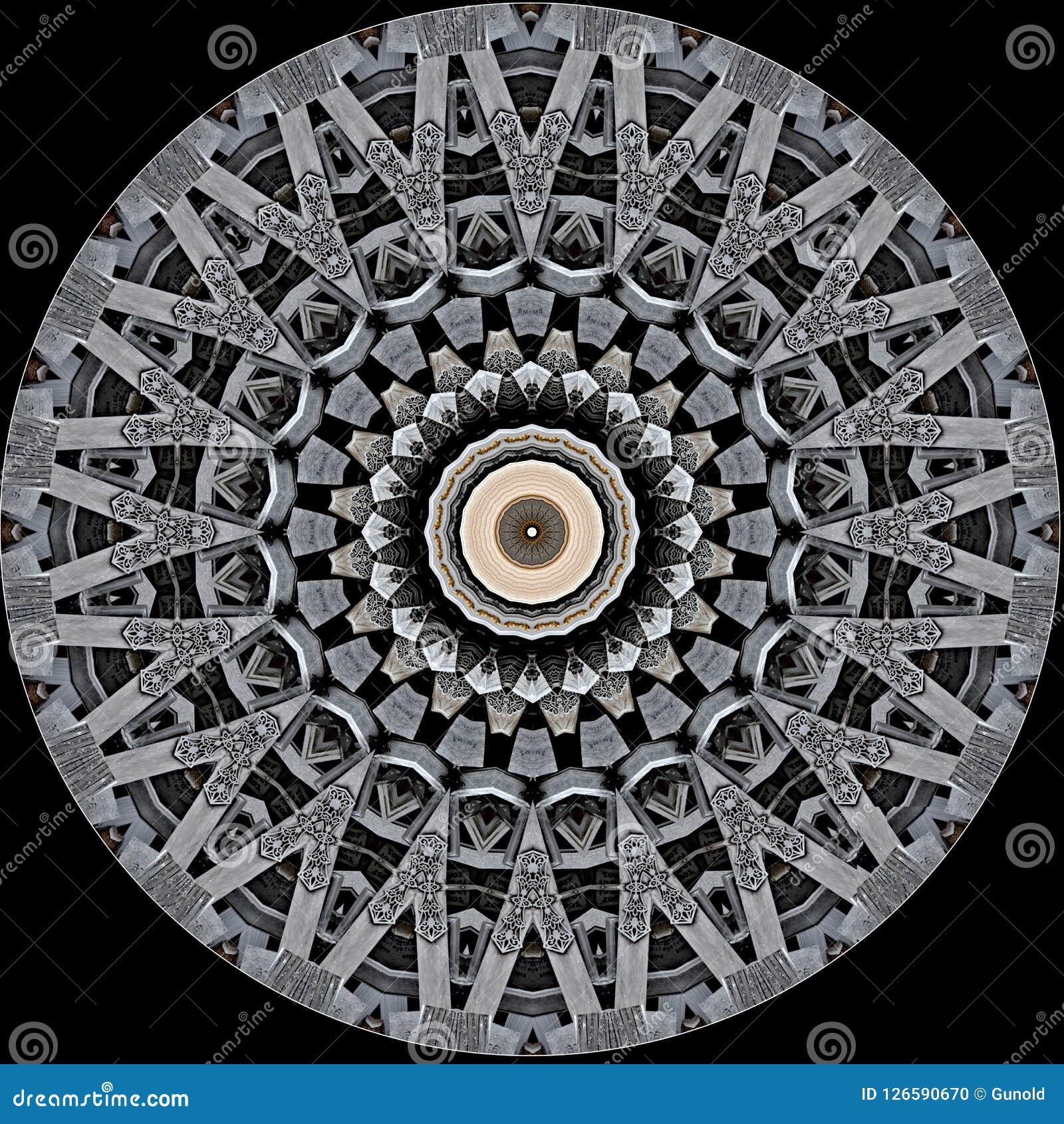 Mysteriously digital art design of filigree ornamental carved wood