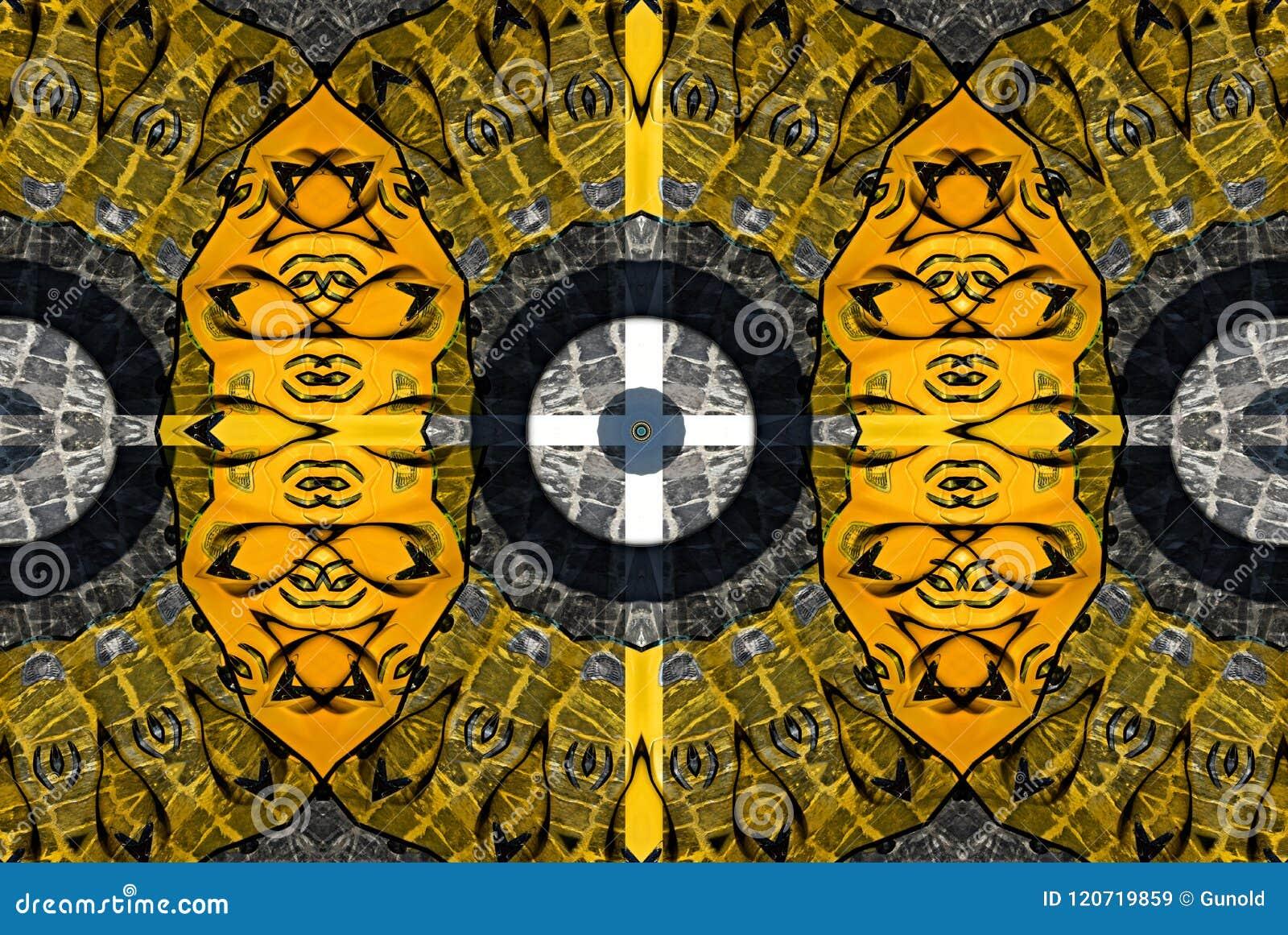 Mysteriously digital art design of interlocking circles