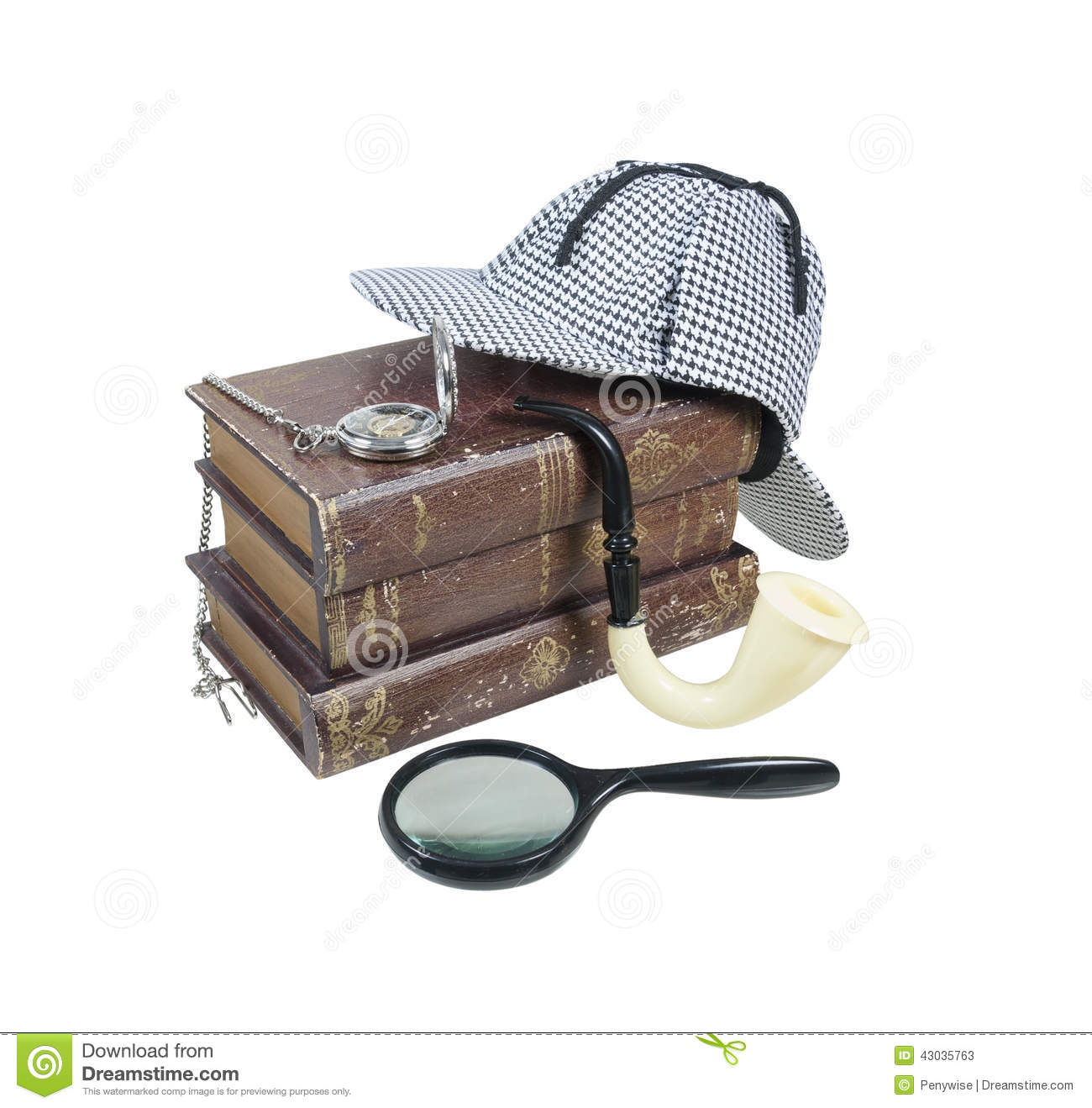 Mystery Books With Hat, Magnifier, Pipe And Pocket Watch