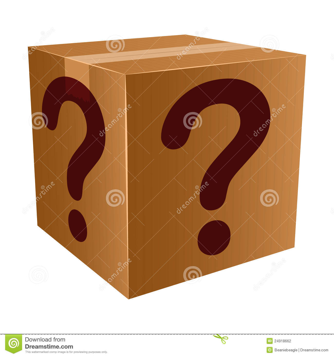 An illustration of a mystery box with questions marks.