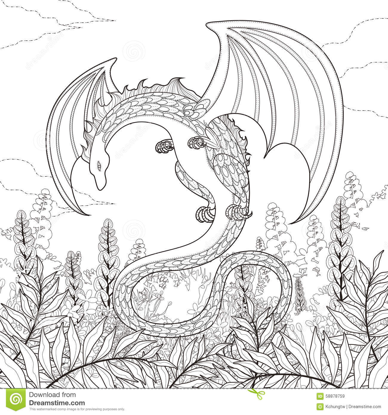 Mystery Dragon Coloring Page Stock Vector Illustration