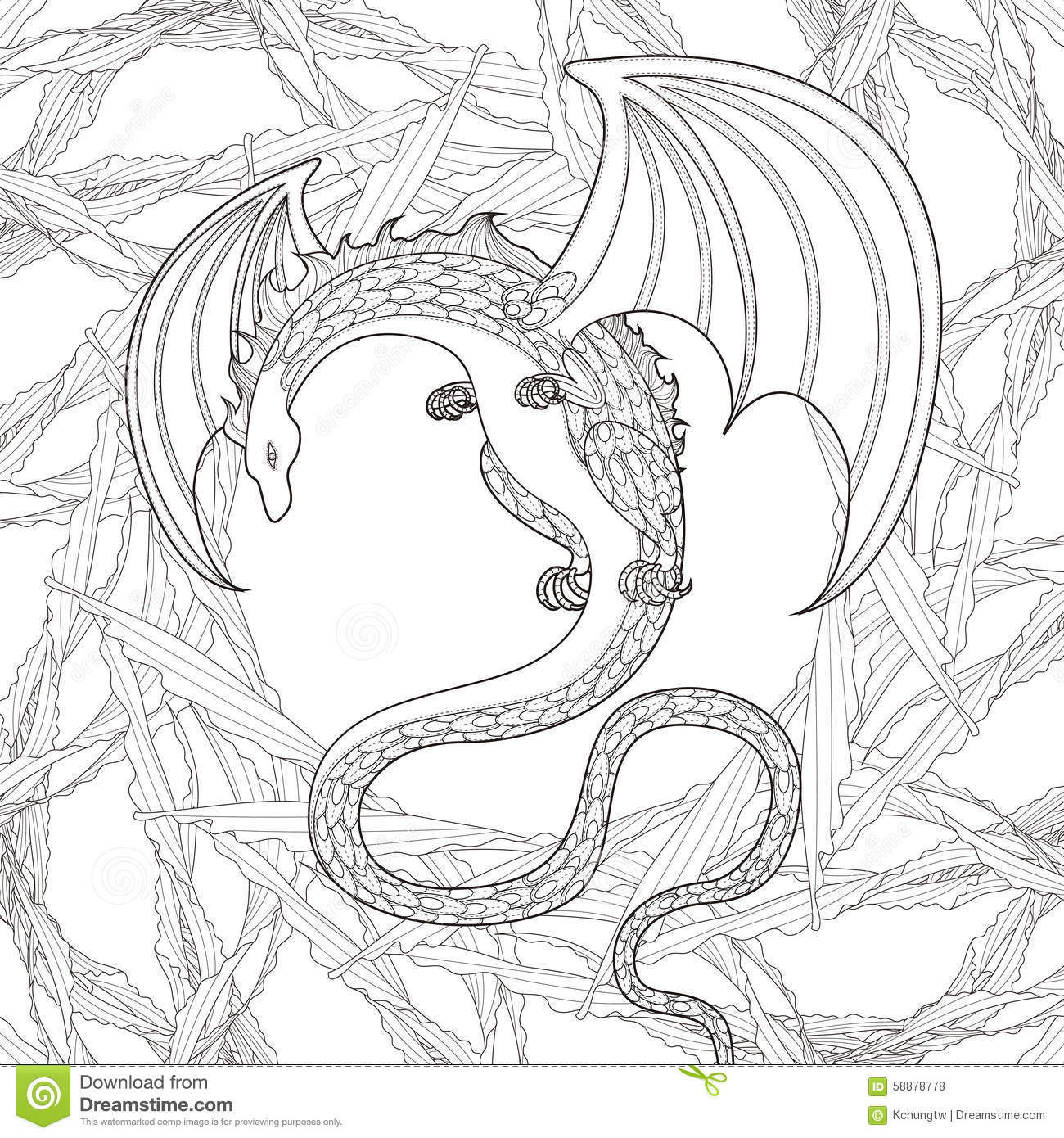 Mystery Dragon Coloring Page Stock Vector - Illustration of nature ...