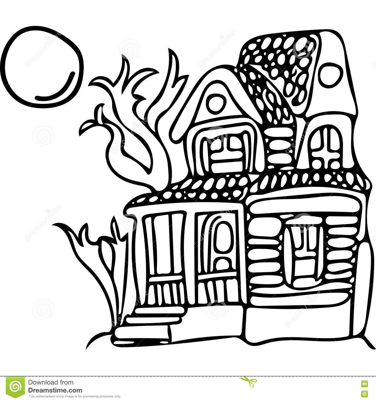 Mystery House Coloring Pages Stock Illustration Illustration Of