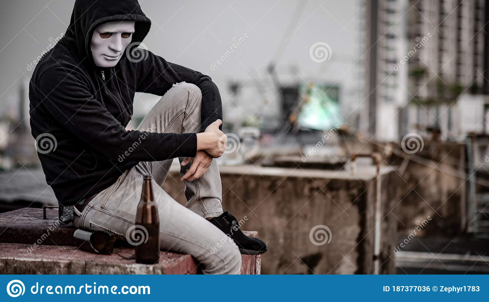Mystery Man Sitting On Abandoned Building Stock Photo Image Of Drunk Bullying 187377036