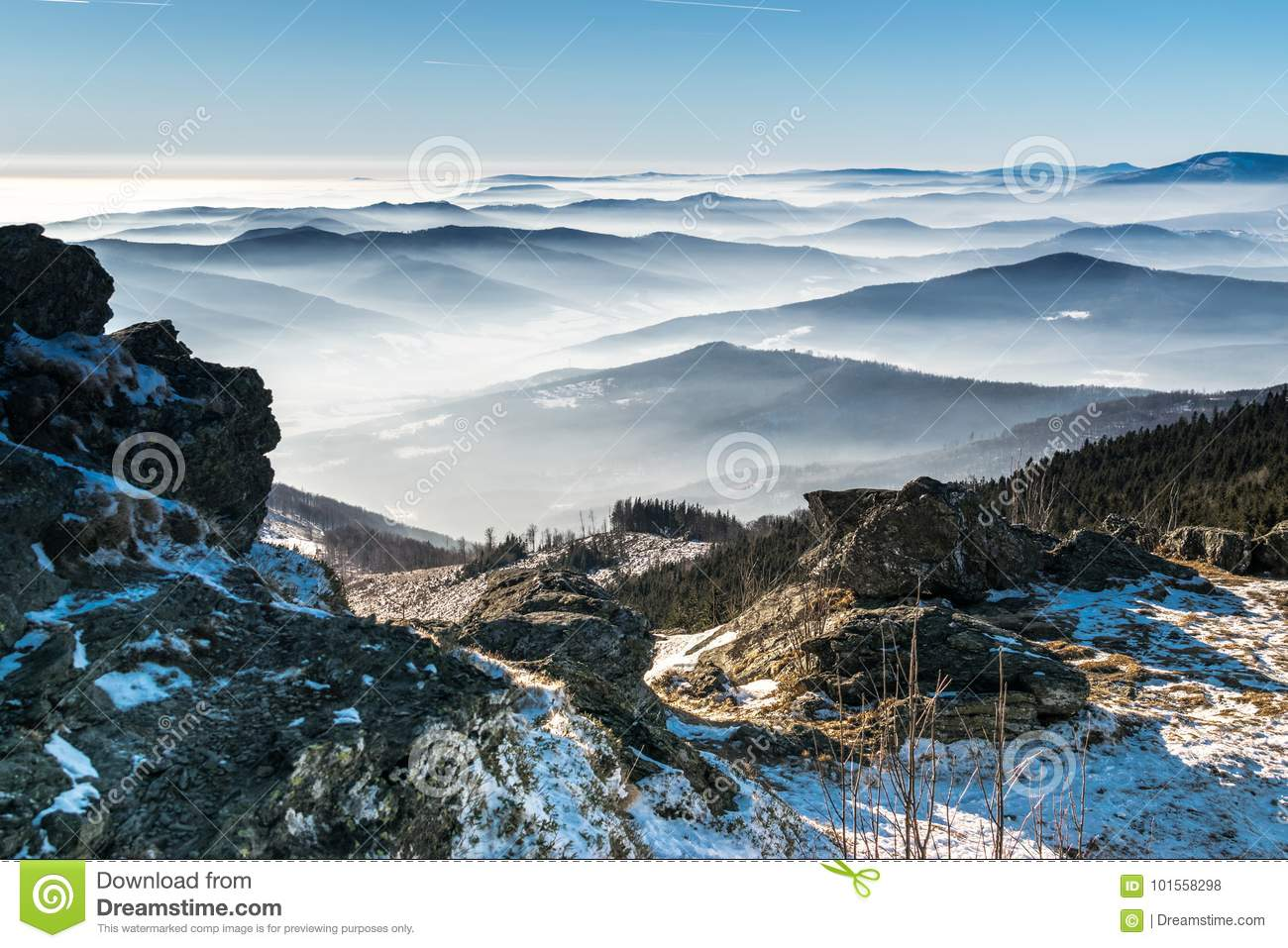 Mystery mountains in the winter