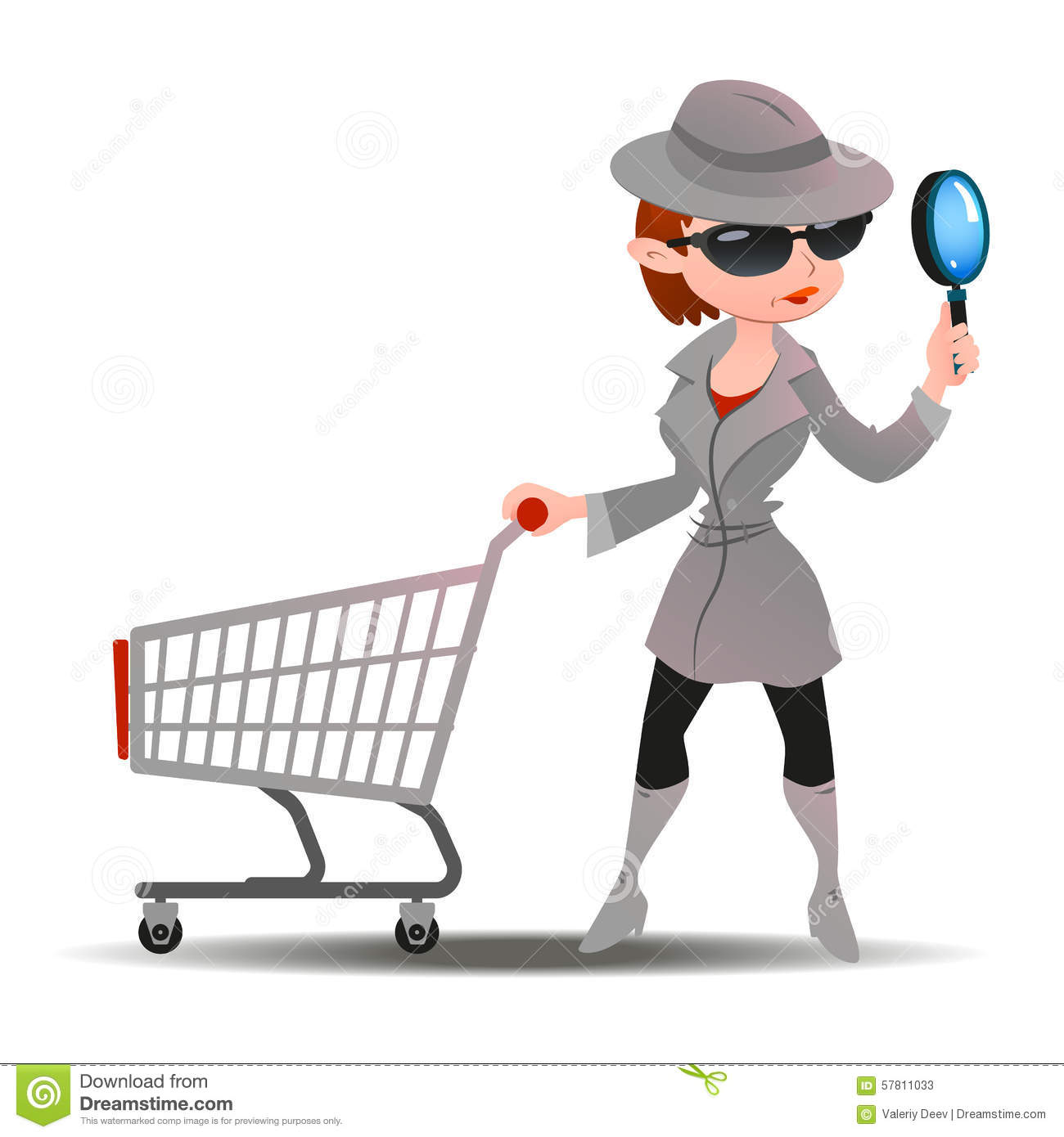 Mystery Shopper Woman In Spy Coat With Shopping Cart Stock Vector ...