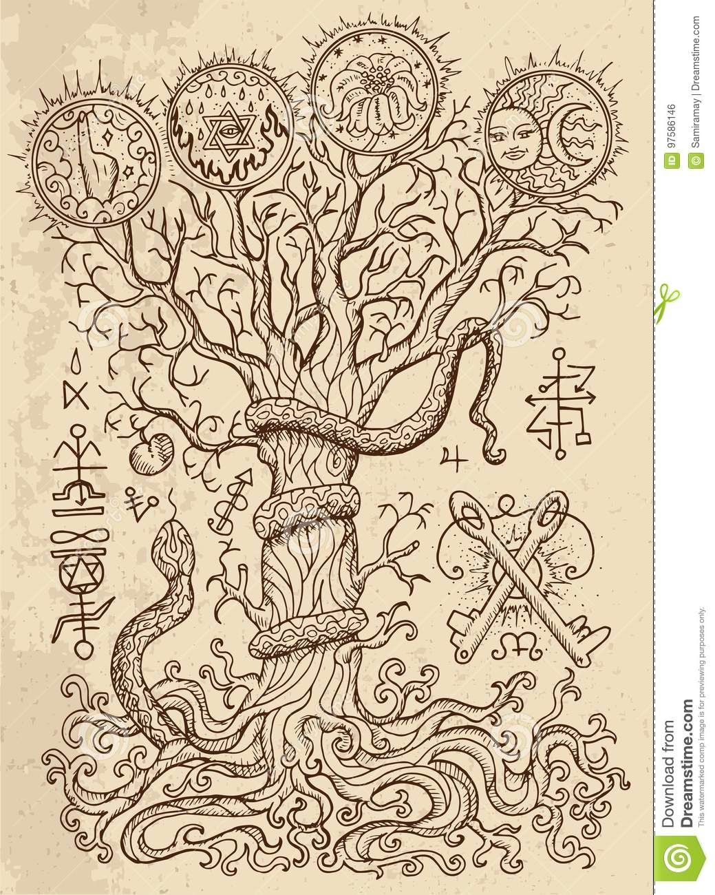 Mystic Drawing With Spiritual And Christian Religious