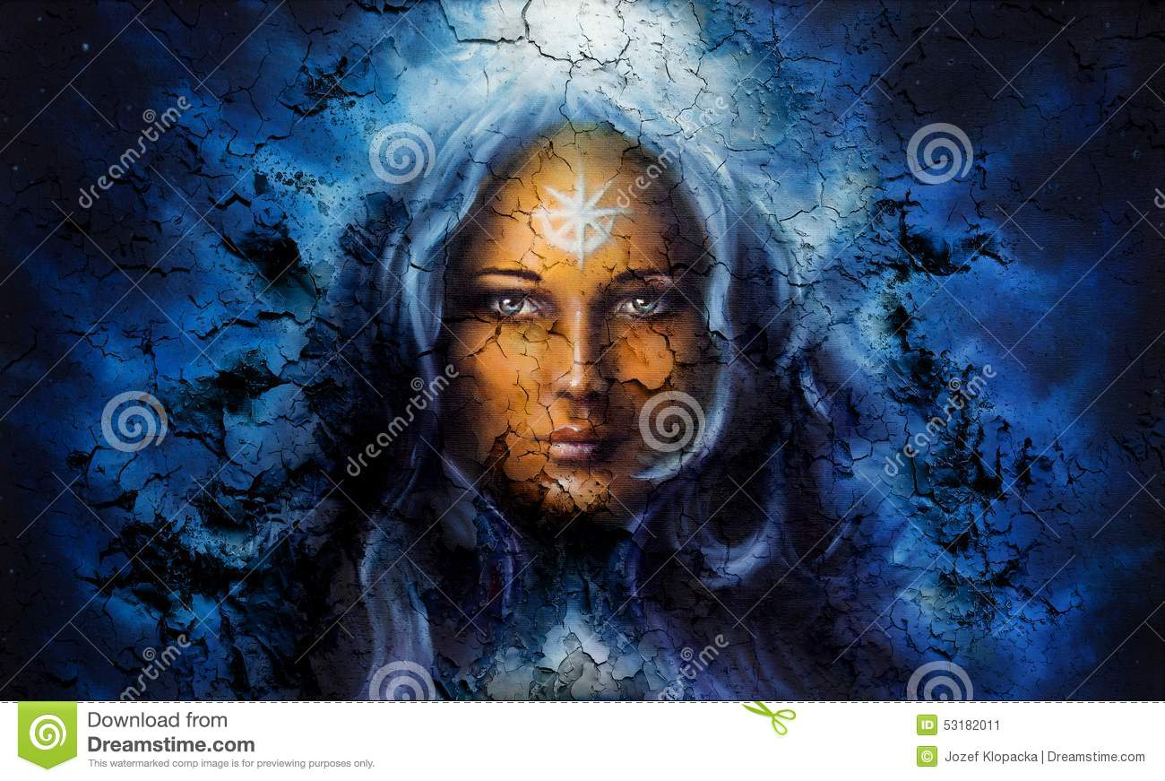 Mystic face women, with structure crackle background effect, with star on forehead, collage. eye contact.