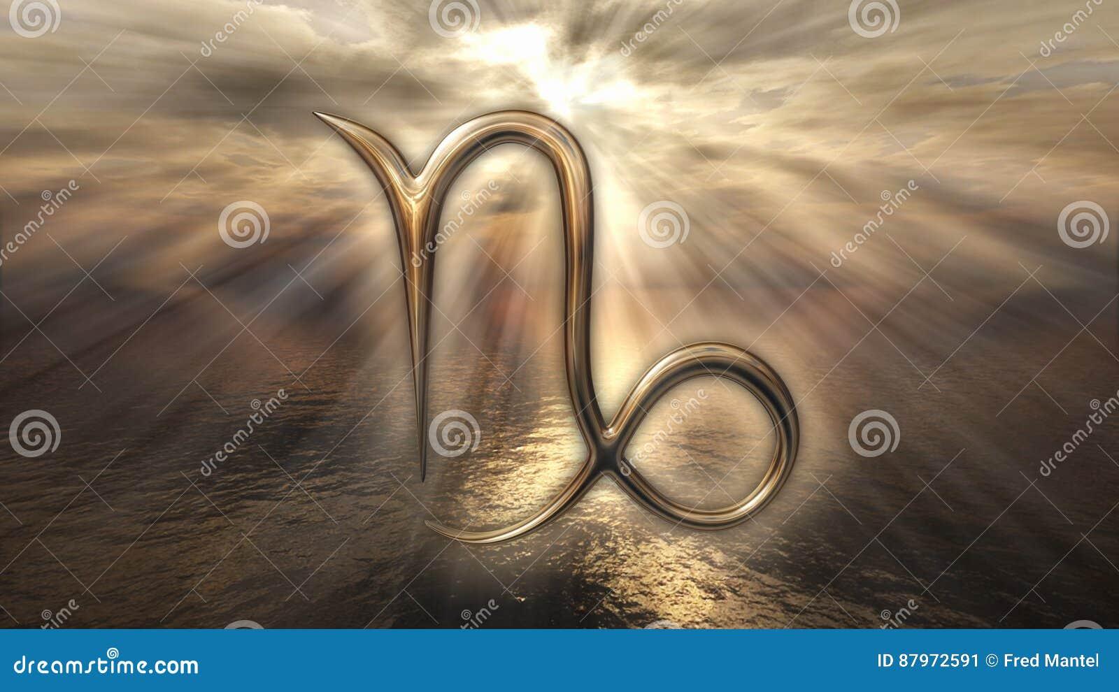 Mystic golden zodiac horoscope Capricorn symbol. 3D rendering