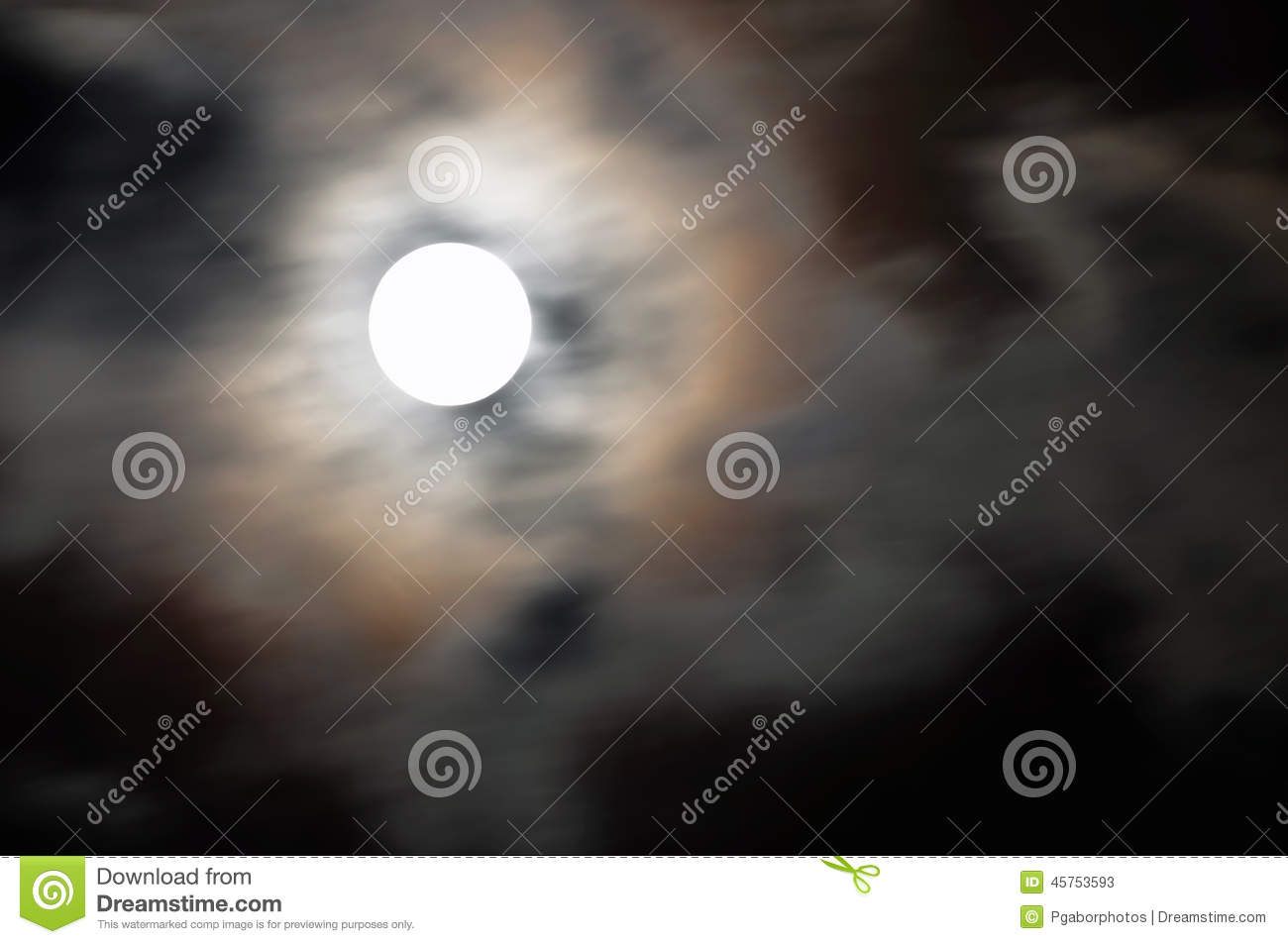 Mystic Moon stock image  Image of large, clouds, midnight - 45753593