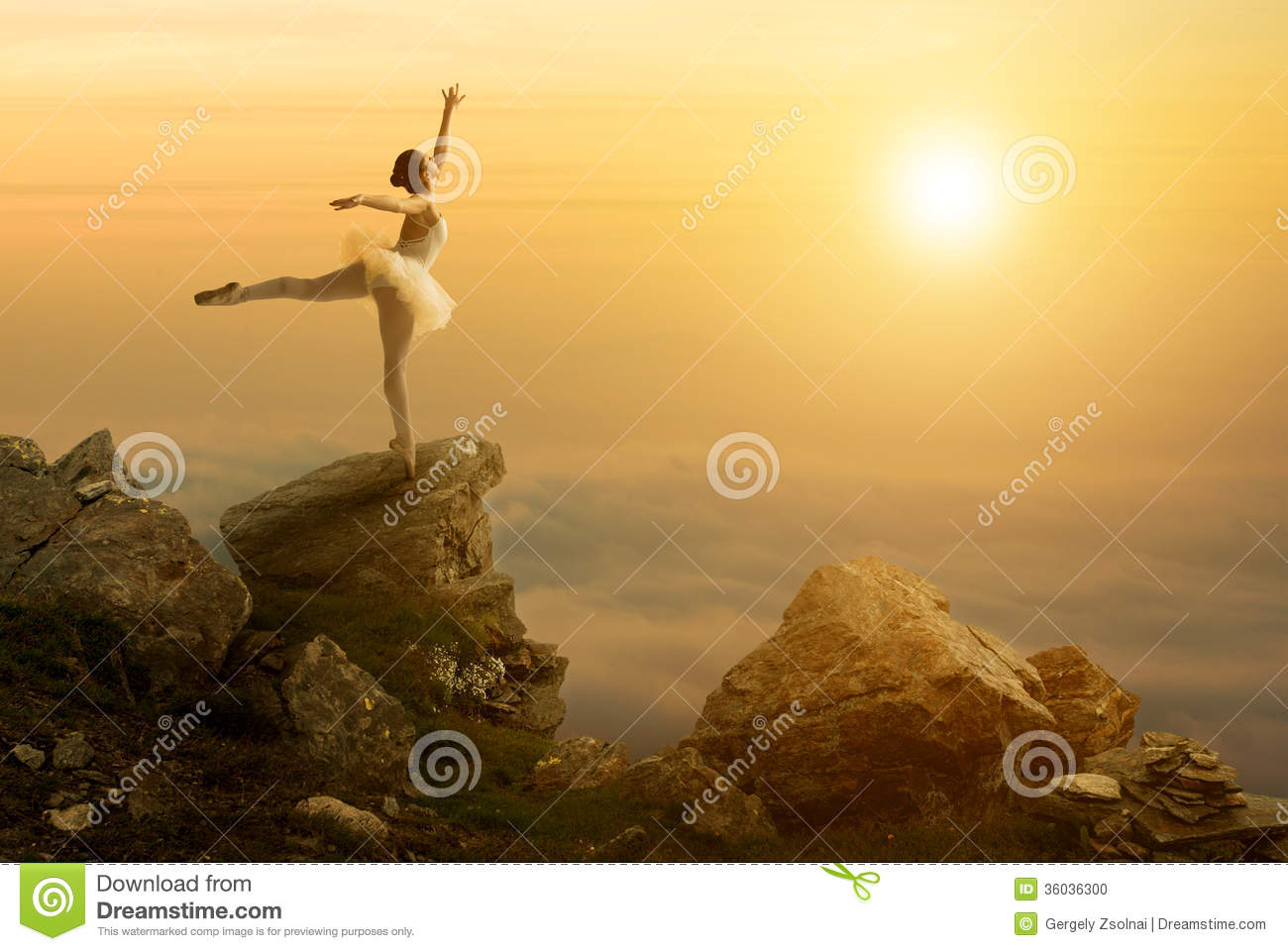 Mystic pictures, ballet dancer stands on the cliff edge