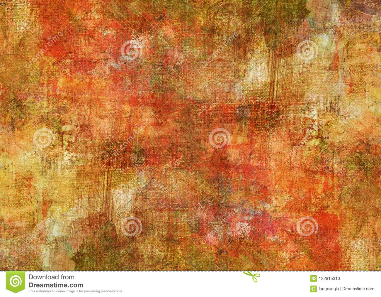 Mystic Red Canvas Abstract Painting Yellow Brown Dark Grunge Rusty Distorted Decay Old Texture for Autumn Background Wallpaper
