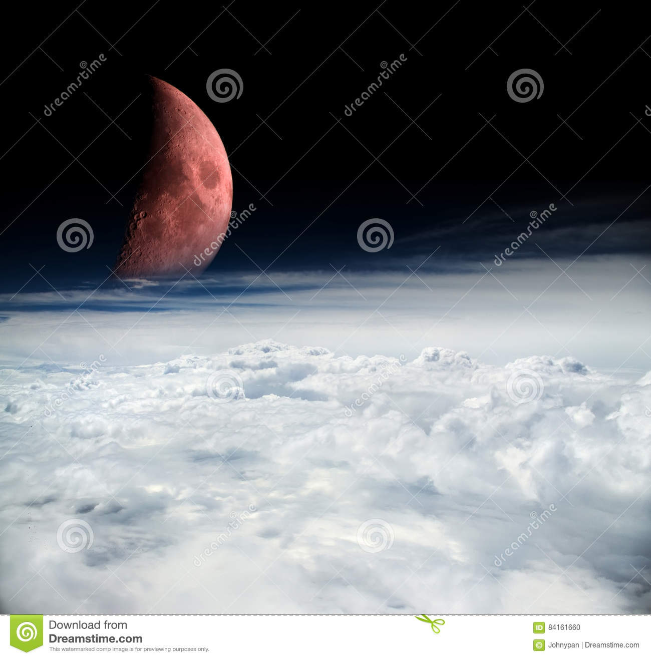 Mystic scene from outer space with moon and clouds of the for Outer space scene