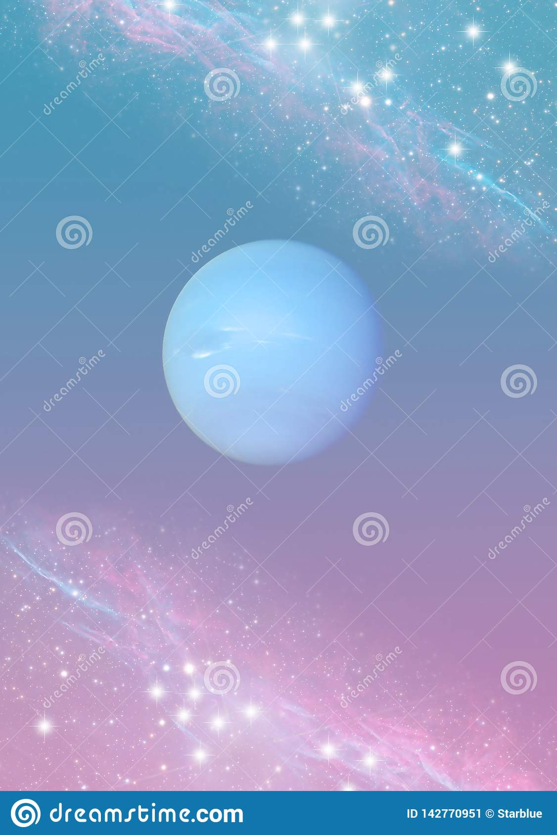 Mystic spiritual magic esoteric background with the planet Neptune, stars in blue pink colors