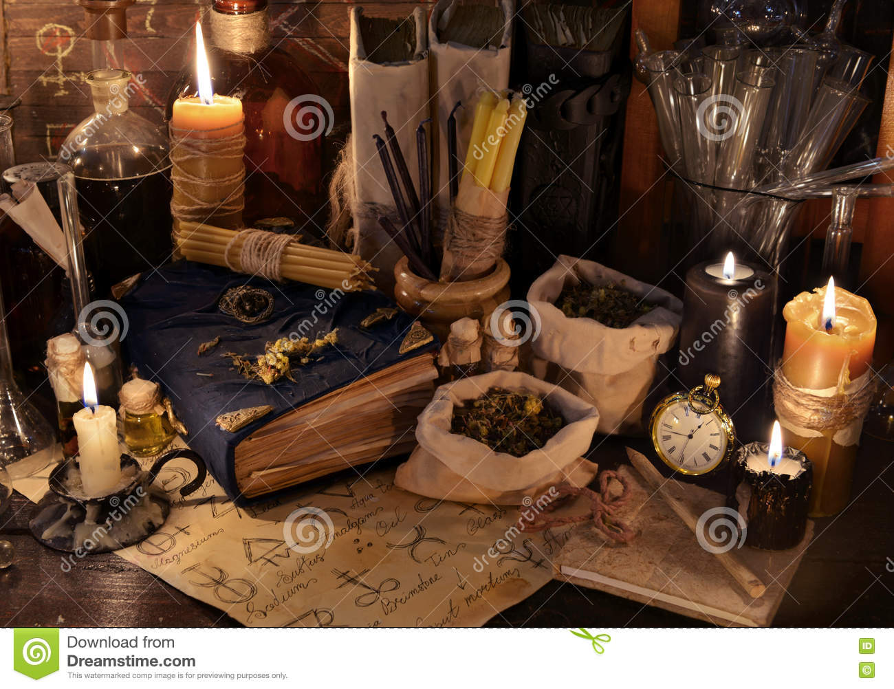 Mystic Still Life With Healing Herbs, Candles And Magic