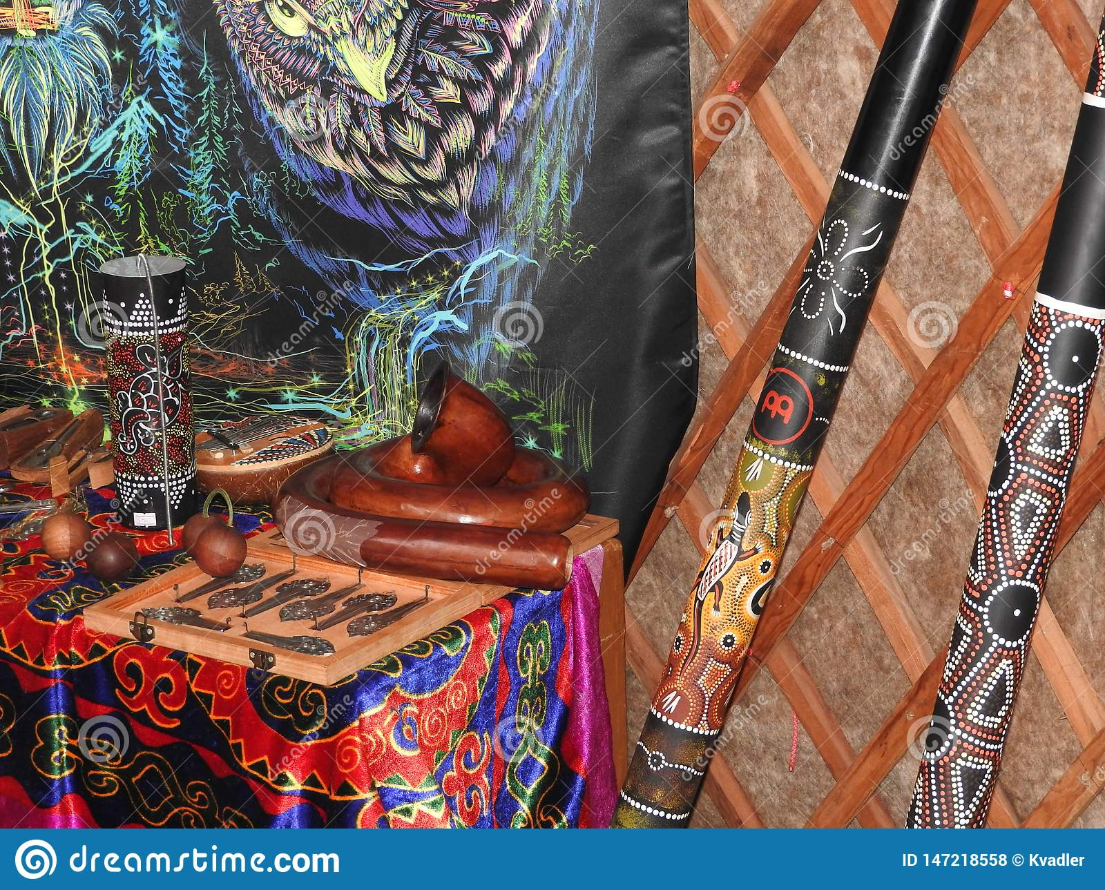 Mystical background with ritual objects of esoteric, occult, divination, magic objects. Occult, esoteric, divination and the