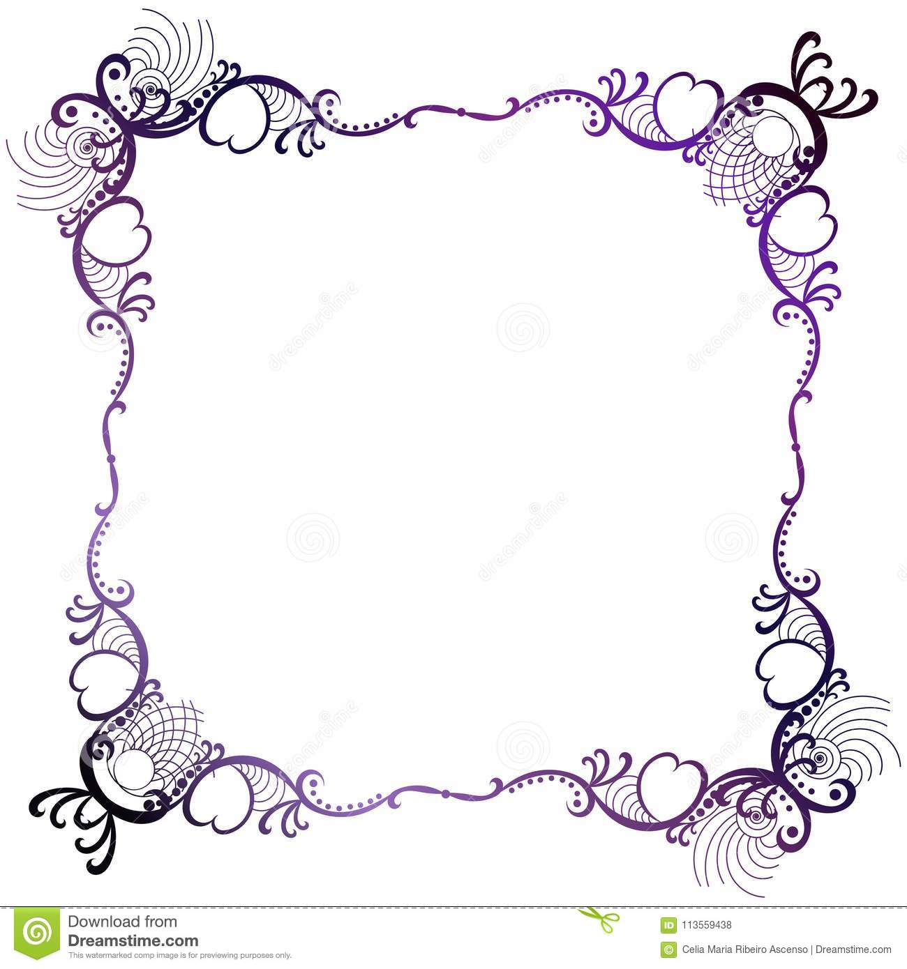 Border Frame Victorian Intended Mystical Purple Victorian Style Lacy Square Border Frame Border Purple Lace Square Stock Illustration