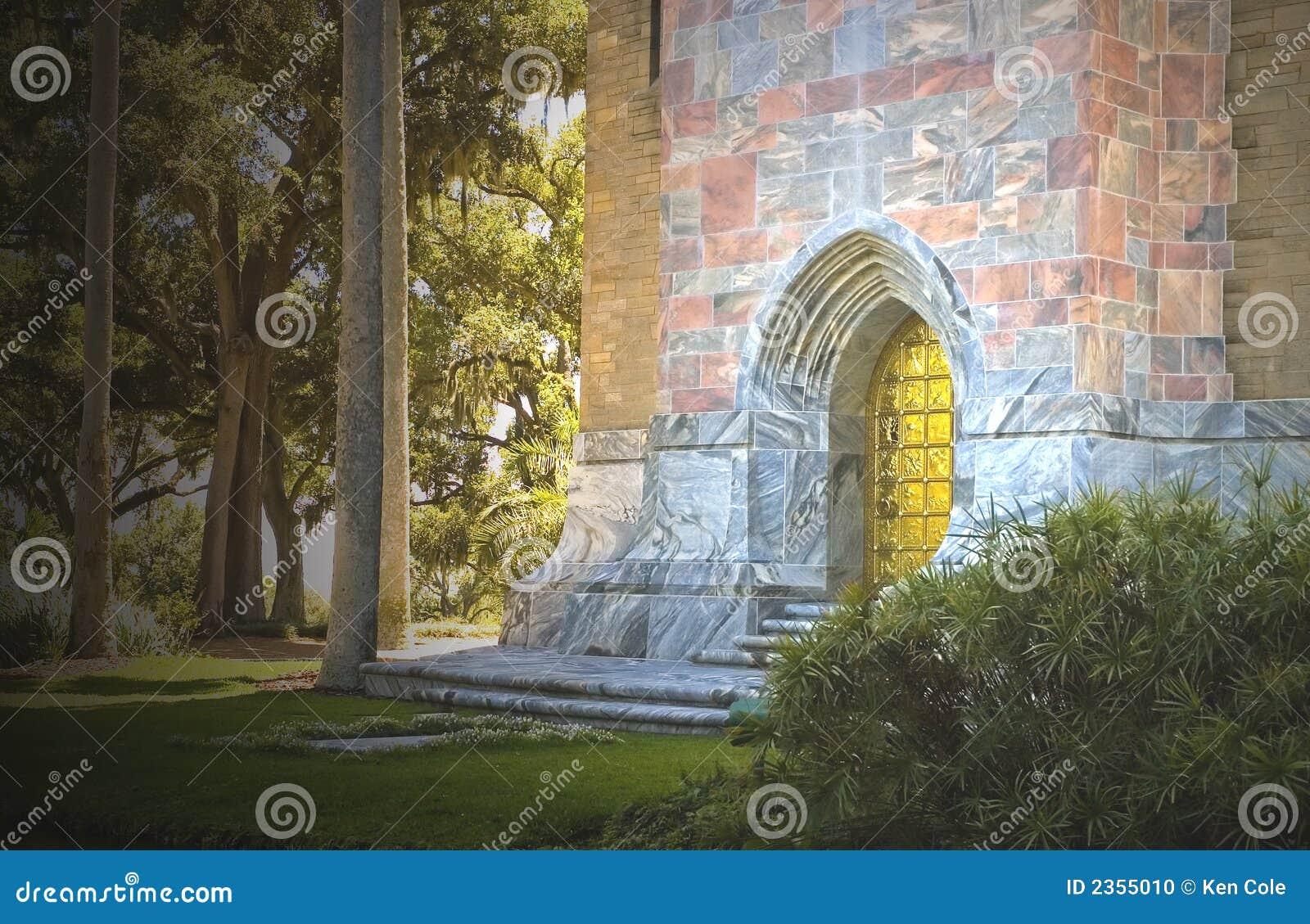 mystical castle entrance stock photo