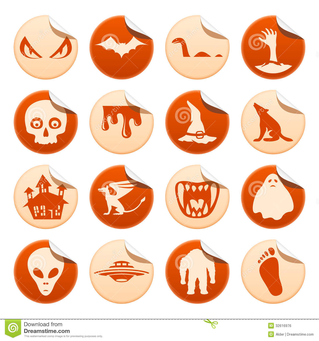 Mystical And Horror Stickers Stock Vector - Illustration of