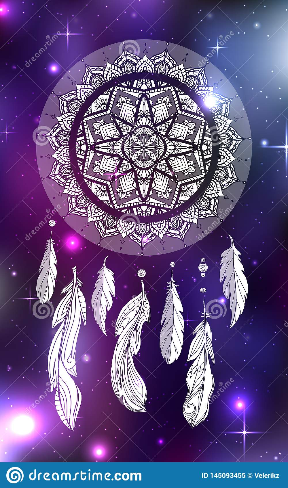Mystical illustration of a dreamcatcher with a boho tracery pattern, feathers with beads on a cosmic background.