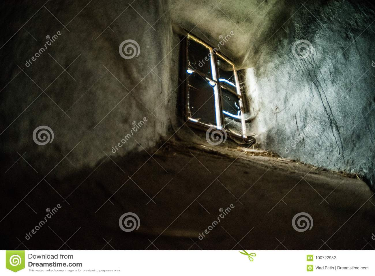 Mystical interior. Window in dark castle dungeon